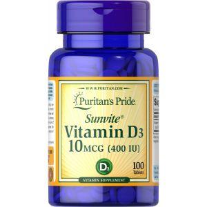 Puritan's Pride Vitamin D3 10 mcg 400 IU 100 Tabletten 1140