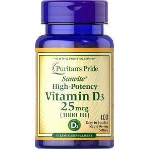Puritan's Pride Vitamin D3 1000 IU 100 Softgels 15605