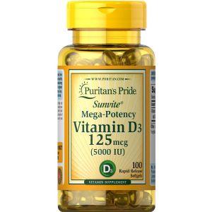 Puritan's Pride Vitamin D3 5000 IU 100 Softgels 19377