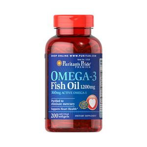 Puritan's Pride Omega 3 fish oil 1200 mg 200 Softgels 13328